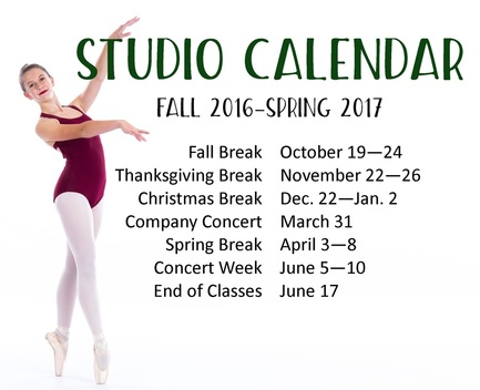 Ballet Studio Important Dates 2016